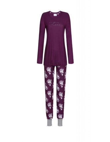 RINGELLA 511214P Piżama damska ze spodniami w kwiaty bordowa